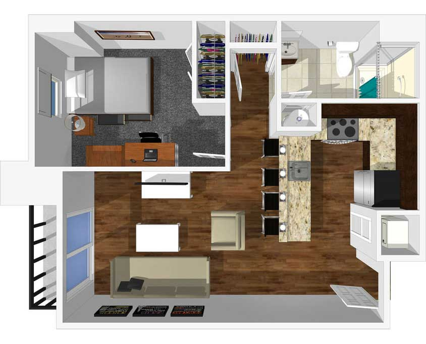 1 bed 1 bath floorplan drawing