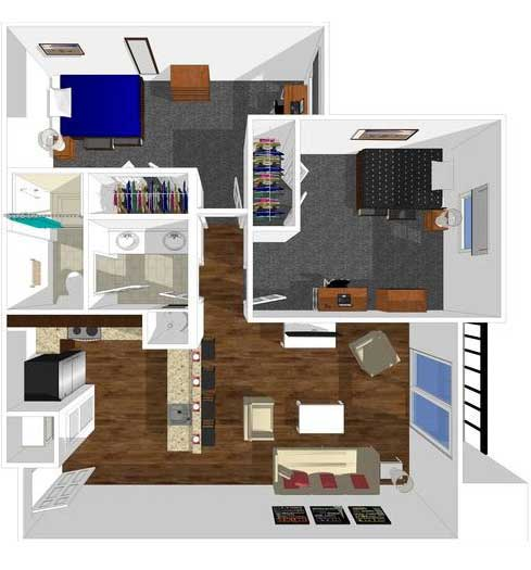 2 bed 1 bath floorplan drawing