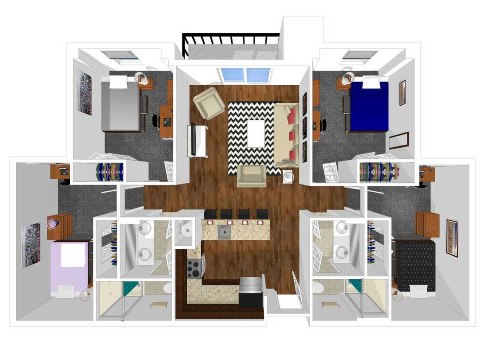 4 bed 2 bath floorplan drawing